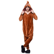Soft Brown Poop Kigurumi Flannel One-Piece Poo Pajamas For Warm Halloween Onesies For Adults Cosplay Party Costume Sleepwear