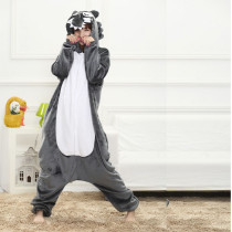 Fancy Grey Wolf Kigurumi Pajama Animal Adult Onesies For Women Pyjamas One-Piece Sleepwear Pyjamas Halloween Christmas Party