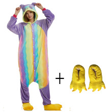 New Flannel Rainbow Pattern Panda Kigurumi Costume Animal Adult Onesies Pajama For Halloween Men Cosplay Carnival Party Women