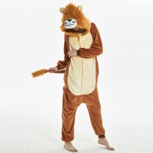 Soft Plush Brown Lion For Adults Halloween Pajamas Onesie Long Sleeve Cosplay Sleepwear Bodysuit Lion Mascot Costume Kigurumi