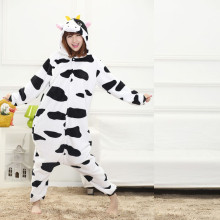 Cow Kigurumi Animal Adult Pajamas Dairy Cattle Onesies For Women Cosplay Party Winter Warm Sleepwear Stage Costume