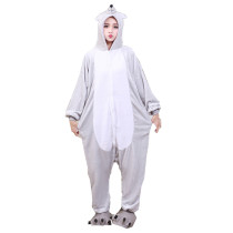 Soft Adult Onesies Mouse Animal Pajamas Unisex Men Mice Pyjamas Gray Party Jumpsuit Warm Flannel Winter Funny Kigurumi