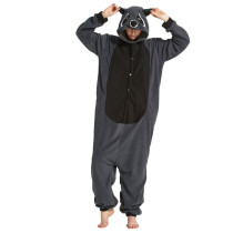Funny Gray Raccoon Kigurumi For Adults Fleece Pajamas Women Onesie Winter Sleepwear Men Night-Suit Halloween Cosplay Costume