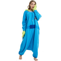 Blue Alien Fleece Kigurumi Cosplay Adult Costume Little Green Man Cartoon Onesie Pajama Halloween Carnival Masquerade Party