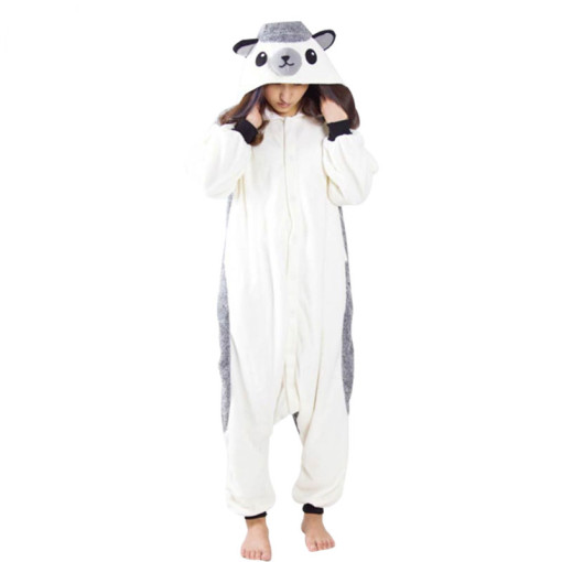 Lovable Hedgehog Onesie Cartoon Animal Kigurumi Warm Women Pajamas Adult Bodysuit Sleepwear For Winter Halloween Costume