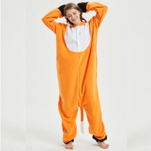Soft Fox Kigurumi Onesie Animal Cartoon Pajama Orange White Onepiece Sleepwear For Adult Women Halloween Suit Festival Outfit