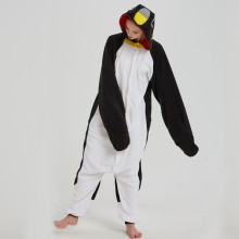 Adorable Black Penguin Kigurumi For Adult Pajamas Warm Polar Fleece Onesie For Halloween One-piece Cute Jumpsuit Cosplay Custome