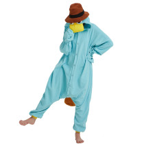 Blue Fleece Unisex Perry the Platypus Costume Onesies Monster Cosplay Pajamas Adult Pyjamas Animal Sleepwear Jumpsuit
