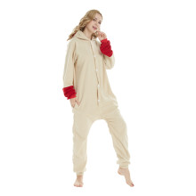 Polar Fleece Bunny Kigurumi Splicing Beige Rabbit Onesies Cosplay Costume Pajamas Rabbit Adult Halloween Carnival Party Jumpsuit