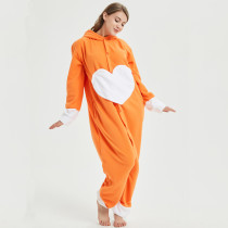 Funny Love Heart dog Adult Kigurumi Pajamas One piece Women Onesie Polar Fleece Jumpsuit For Halloween Sleepwear Cosplay Party