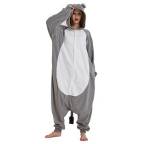 New Grey Polar Fleece Onesie Rhinoceros Kigurumi Animal Women Pajamas Party Bodysuit Winter Sleepwear Halloween Cosplay Costume