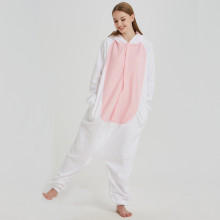 Halloween White Fleece Bunny Kigurumi For Women Winter Pajamas Rabbit Onesie For Adult Cosplay Costume Party Sleepwear Men
