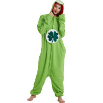 Lucky Care Bear Onesie Green Cosplay Animal Costume Kigurumi Pajamas Adult Women Men Unisex One Piece Hooded Party For Halloween