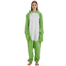 Green Animal Frog Kigurumi Adult Onesie Women Pajamas Party Fleece Bodysuit Sleepwear For Winter Halloween Carnival Costume