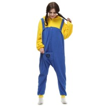 Women Cosplay Minions Onesie Cartoon Jumpsuit Adult Pajamas Polar Fleece Kigurumi For Halloween Jumpsuit Pijama Party Men