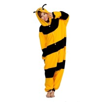 Funny Onesie Fleece Honeybee Kigurumi Animal Bee Jumpsuit Sleepwear Adult Pajamas For Halloween Pyjamas Cosplay Costume Suit
