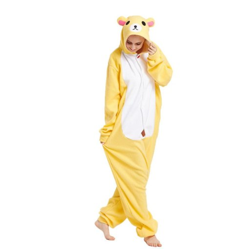 Funny Yellow Kigurumi Animal Character Adult Polar Fleece Bear Onesies Pajamas For Women Halloween Cosplay pyjamas Parties