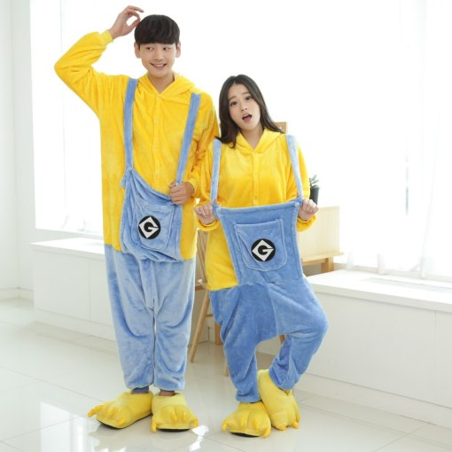 Large Size Minions Kigurumi Cartoon Couple Onesie Adult Jumpsuit For Carnival Pajamas For Women Suit Sleepwear Halloween Cosplay