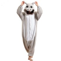 Warm Animal Hippo Onesie For Adults Men Women Kugurumi Pajamas Overalls Couple Halloween Party Costume Jumpsuit Night Sleepwear