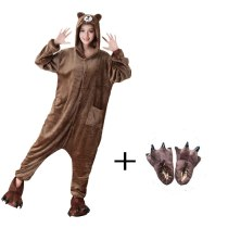 Flannel Plush Cartoon Brown Bear Adults Pajamas Onesie Pyjamas Jumpsuit Sleepwear Cosplay Bodysuit Halloween Party Slippers