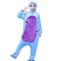Wear 120kg Funny Kigurumi Flannel Blue Donkey Onesie For Women Men Pajamas Night-suit Set Cosplay Party  Large Size XXL