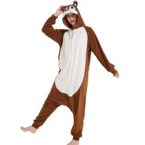 Polar Fleece Fabric Squirrel Kigurumi Cosplay Costume Animal Sleepwear Pajamas Adult Chipmunk Onesie Halloween Carnival Party
