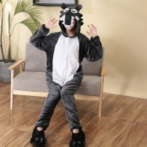 Funny Adult Onesie Black Wolf Flannel Animal Kigurumi Women Pajamas Party Bodysuit Cosplay Unisex Sleepwear Halloween Custome