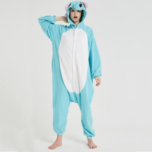 Blue Animal Onesie Elephant Kigurumi For Adult Pajamas Polar Fleece For Halloween One-piece Jumpsuit Siamese Cosplay Custome
