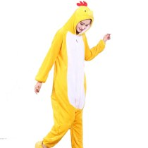 Yellow Chick Kigurumi Onesie For Adults One-Piece Flannel Animal Pajamas For Halloween Jumpsuit Cosplay Party Costume Sleepwear