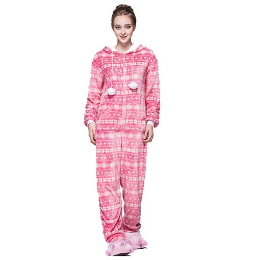 Fashion Red Pink Bird Zipper Pyjama Women Snow Pajamas Hooded Onesie For Teenagers Adults Best Pijamas Christmas Sleepwear