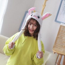 Funny Flannel Rabbit Ear Hat Pinch The Paw Ears Will Move Airbag Magnet Cap Bunny Moving Ear Easter Halloween Festival Gifts