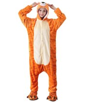 Flannel Adult Onesie Orange Tiger Animal Kigurumi For Women Pajamas Party Bodysuit Cosplay Unisex Sleepwear Halloween Pyjamas