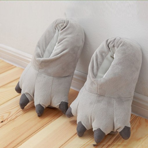 Soft Animal Paw Unisex Slippers Cartoon Character Cosplay Monster Claws Slippers Plush Winter Warm Home Indoor Shoes