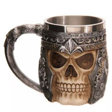 3D Viking Skull Beer Mug Striking Skull Warrior Tankard Gothic Helmet Drinkware Vessel Coffee Cup Christmas Gift With Package