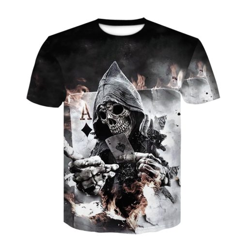 Mens Summer Skull Poker Print Men Short Sleeve T-shirt 3D T Shirt Casual Breathable T-shirt Plus-size T-shirt