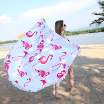 Fashion Flamingo 450G Round Beach Towel With Tassels Microfiber 150cm Picnic Blanket Mat Tapestry