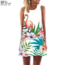 Summer Dress Floral Print Boho Dresses For Women Casual Beach Sundress Sleeveless Flamingo Chiffon Dress Vestidos De Fiesta