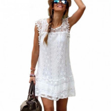Summer Dress Women Casual Beach Short Dress Tassel Black White Mini Lace Dress Sexy Party Dresses Vestidos S-XXL