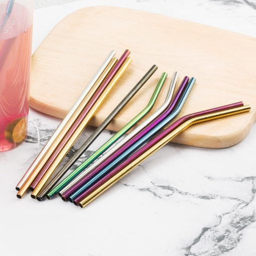 Colorful 304 Stainless Steel Straws Reusable Straight Bent Metal Drinking Straw With Cleaner Brush Set Party Bar Accessory
