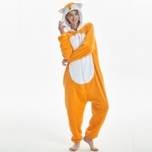 Déguisement Combinaison Adulte Renard Orange Flanelle Pyjamas Kigurumi pour Homme et Femme Halloween Animal Cosplay