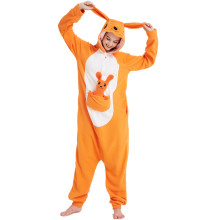 Déguisement Combinaison Kangourou Orange Polaire Pyjamas Kigurumi Adulte Nuit Vêtements Homme et Femme Orange Noël Halloween Carnaval Animal Cosplay Costumes