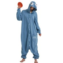 Déguisement Combinaison Adulte Cookie Anime Polaire Pyjamas Kigurumi Bleu Noël Halloween Carnaval Animal Cosplay Costumes Cookie Monstre Kigurumi Onesie de Bande Dessinée Sesame Street