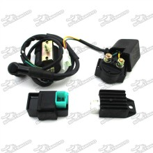 Ignition Coil + 5 Pin AC CDI Box + 2 Wire Solenoid Relay + 4 Pin Rectifier Regulator For Kazuma Meerkat 50cc Falcon 90cc ATV Quad 4 Wheeler