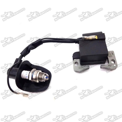 3 Electrode L7T Spark Plug + Ignition Coil For 47cc 49cc 2 Stroke Engine Chinese Kids Mini Dirt ATV Quad Pocket Bike Go Kart