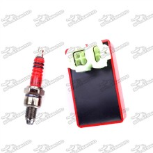 Red 6 Pin Wires AC CDI Box + 3 Electrode A7TC Spark Plug For GY6 50cc 125cc 150cc Engine Chinese Moped Scooter
