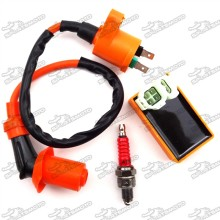 Performance Racing Ignition Coil + 6 Pin AC CDI Box + A7TC Spark Plug For Chinese GY6 50cc 125cc 150cc Engine Scooter Pit Dirt Bike ATV Quad Moped Scooter