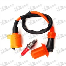 Performance Racing Ignition Coil + A7TC Spark Plug For Chinese GY6 50cc 125cc 150cc Engine Moped Scooter XR50 CRF50 Pit Dirt Bike Motorcycle