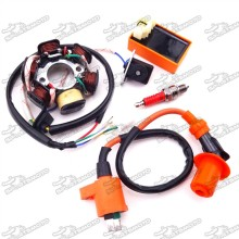 Magneto Stator + Racing Ignition Coil + 6 Pin AC CDI Box + A7TC Spark Plug For Chinese GY6 49cc 50cc Engine Moped Scooter