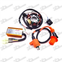 Racing Ignition Coil + Magneto Stator + 6 Pin AC CDI Box For Chinese ATV Go Kart GY6 50cc Engine Moped Scooter