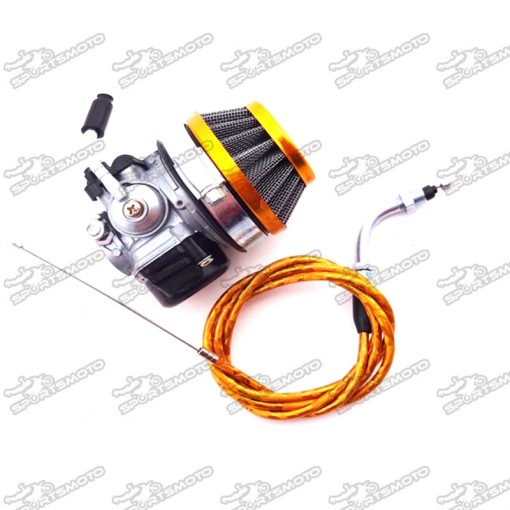 Gold Racing 19mm Carburetor + 58mm Air Filter + Gas Throttle Cable For 49cc 50cc 60cc 66cc 80cc 2 Stroke Engine Motorized Bicycle Push Bike